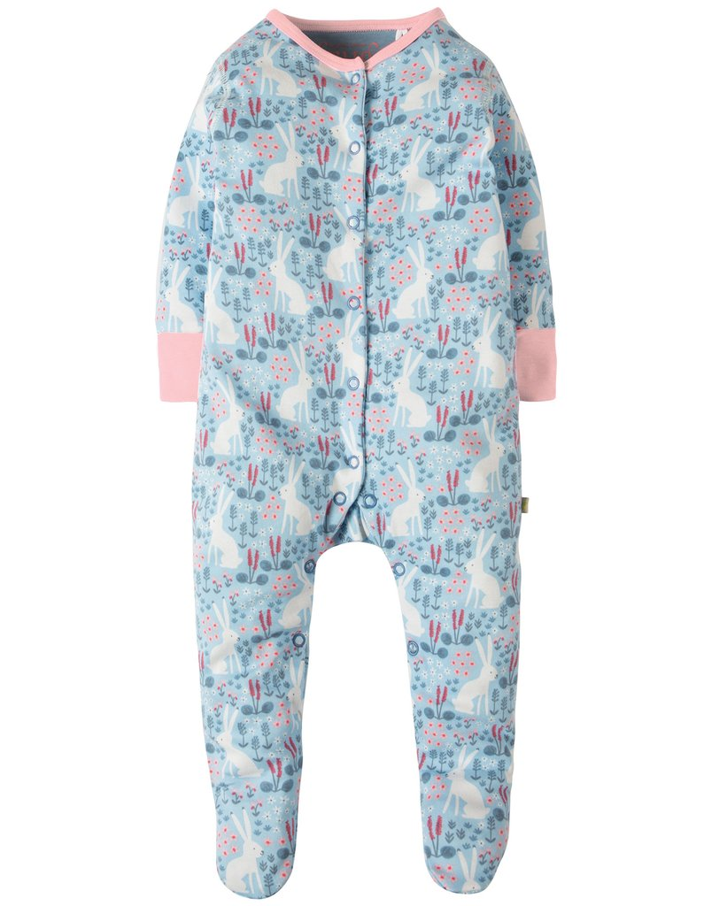 Lovely Babygrow – Sky Blue Arctic Hares – Organic Cotton